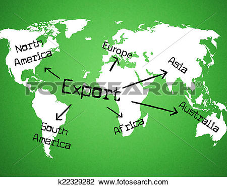 Clip Art of Export Worldwide Means Sell Overseas And Exported.