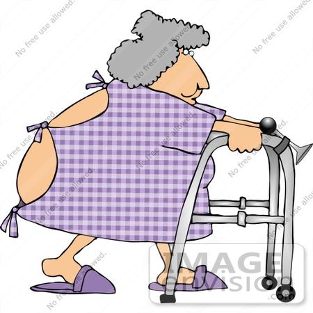 Elderly Woman in Hospital Gown, Using a Walker Clipart.