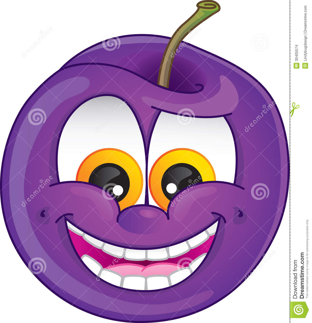 Cartoon Plum Stock Images.