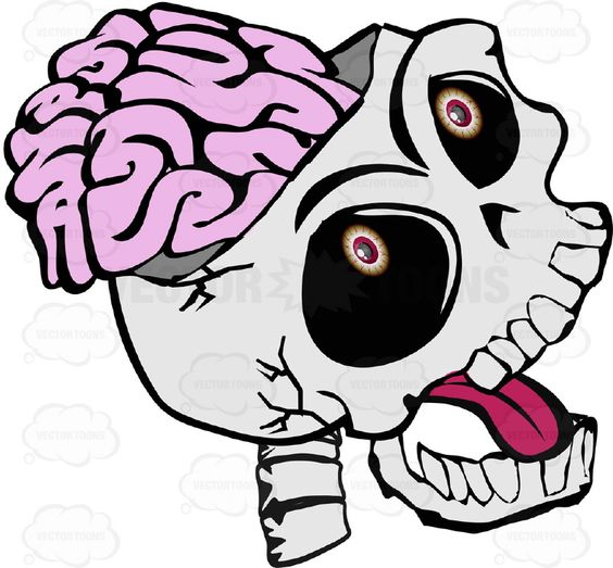 Cartoon Skull Open Showing Exposed Brain Shouting Open Mouth With.