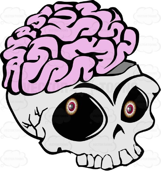 Cartoon Skull Open Showing Exposed Brain Overflowing Missing Lower.