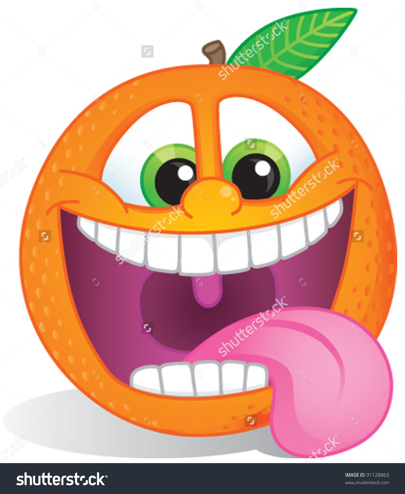 Funky Orange Fruit Character Wide Smile Stock Vector 91128863.