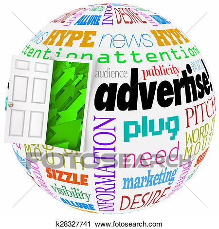 Advertise Marketing Word Globe Planet Business Exposure Growth Clip Art.
