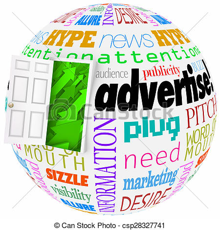 Drawing of Advertise Marketing Word Globe Planet Business Exposure.