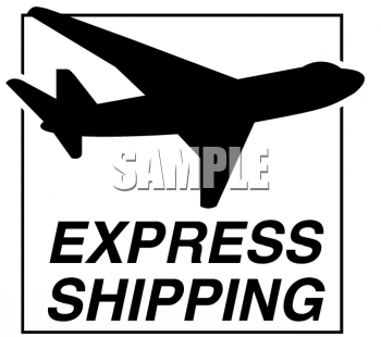 Royalty Free Clip Art Image: Express Shipping Label with an.