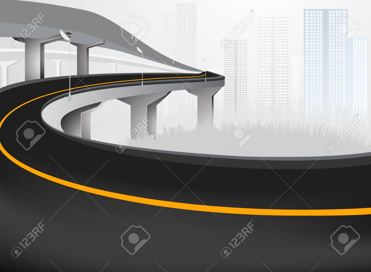 Elevated Road Expressway Into City Royalty Free Cliparts, Vectors.