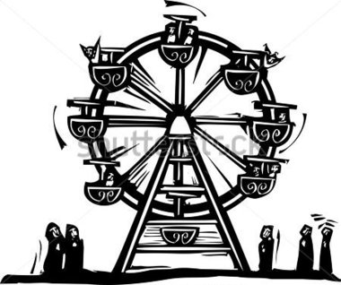 Woodcut Style Expressionist Image of A Circus Ferris stock vector.