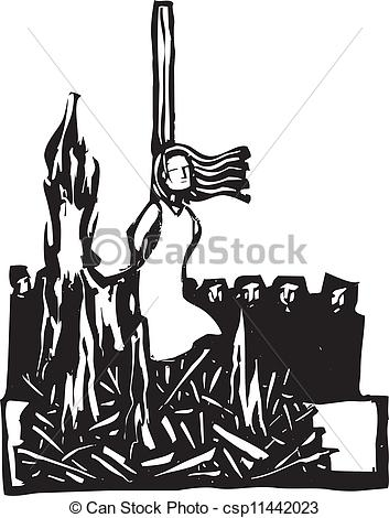 Vector Illustration of Burned at the Stake.