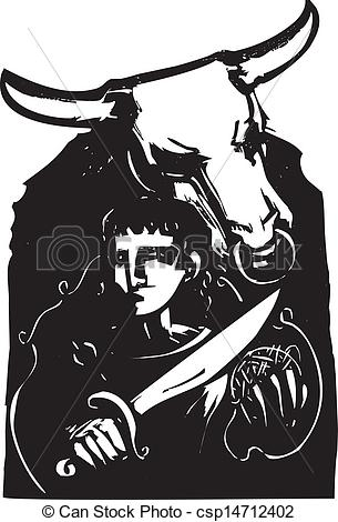 Vector Clipart of Theseus and the Minotaur.