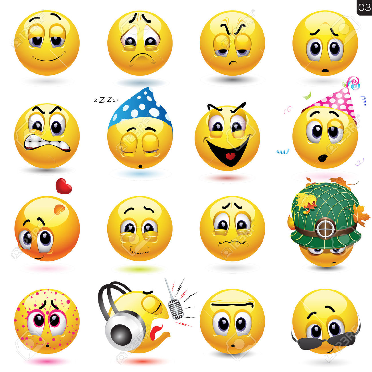 Smiley face expressions clipart.