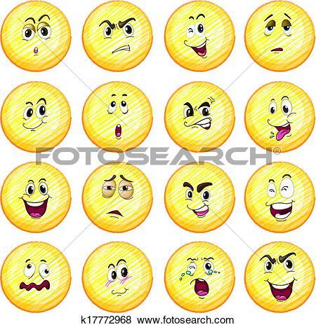 Clip Art of Different facial expressions k17772968.
