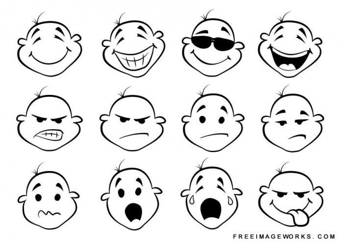 Cartoon face expression clipart.