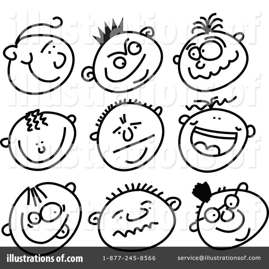 Expressive faces clip art.