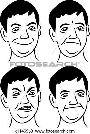 Drawing of expressive man k1146953.