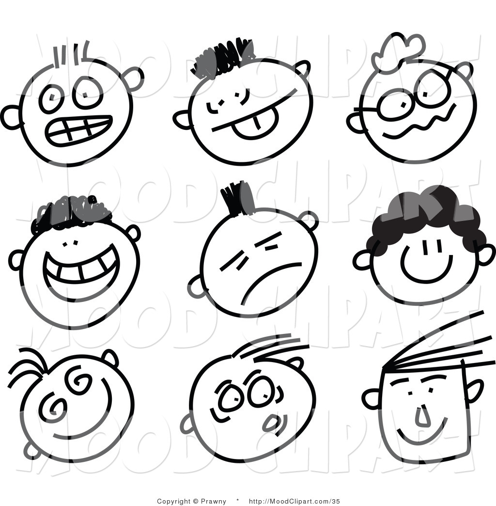 Expressive faces clip art.