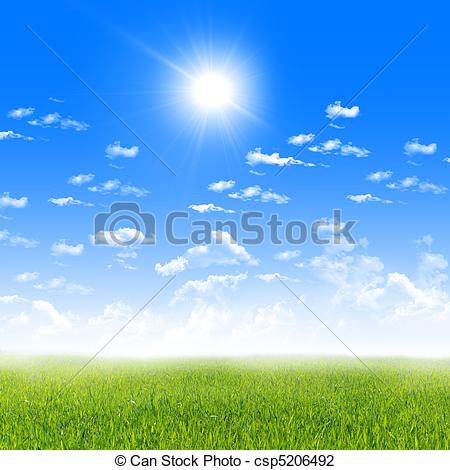 Clip Art of Exquisite landscape with blue skies, sunshine and.