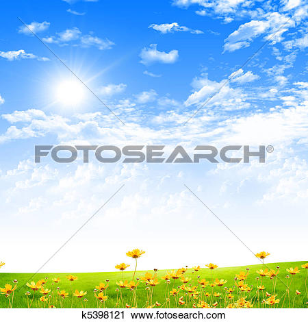 Clipart of Exquisite landscape with blue skies k5398121.