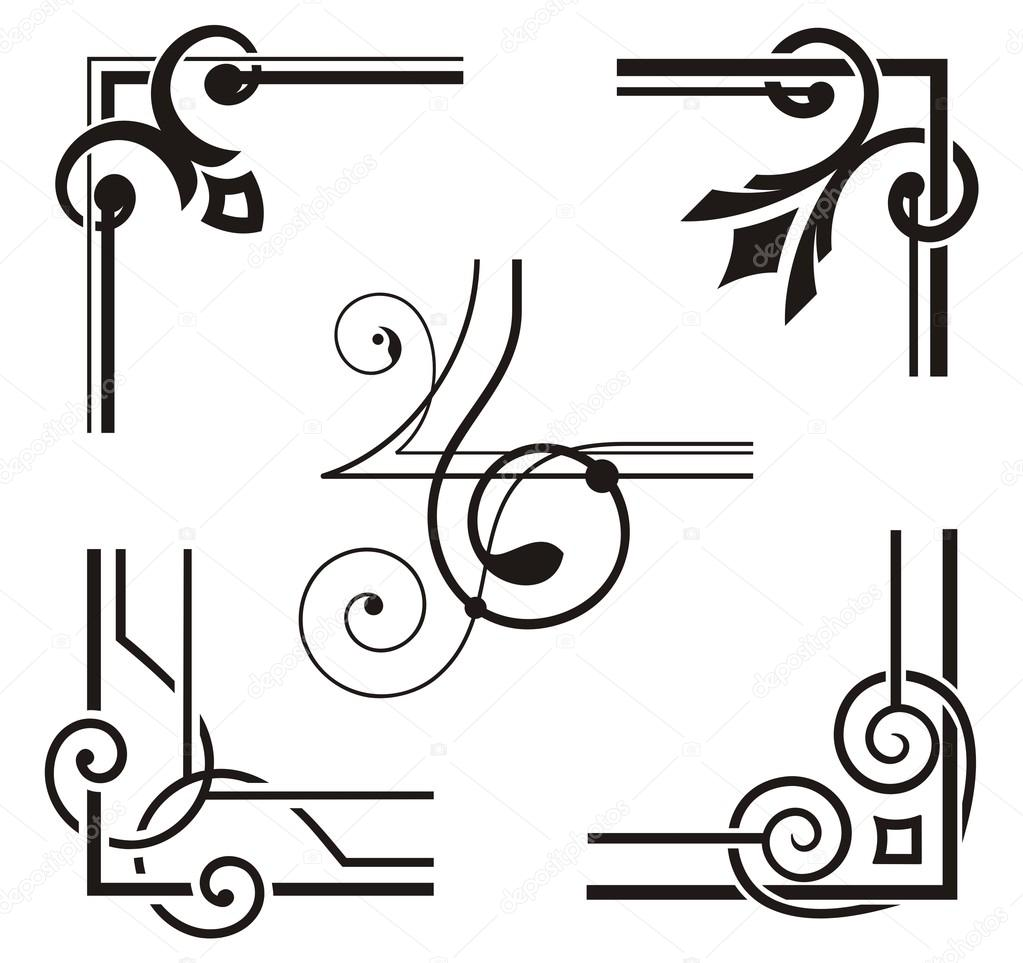Exquisite Corner Ornamental Designs — Stock Vector © clipart.