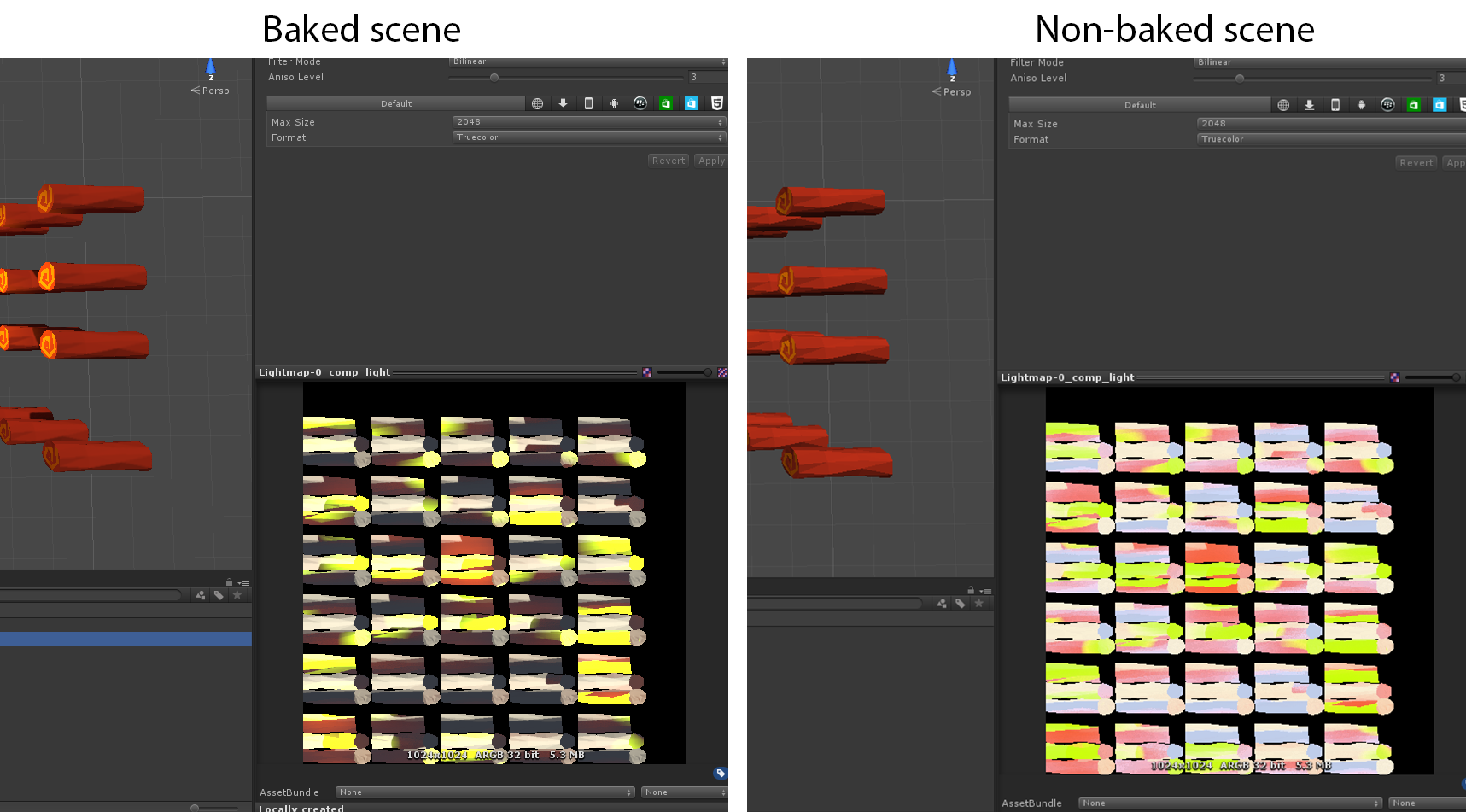 Unity 5: Different handling of exr files in lightmapped scenes.