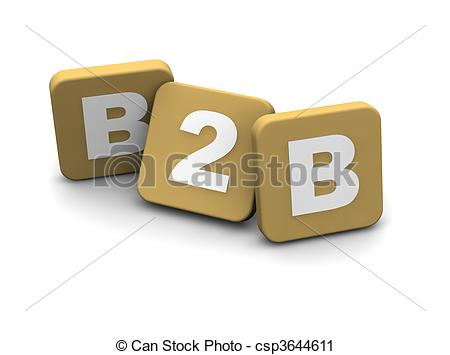 Clipart of B2B alias business to business ext. 3d rendered.