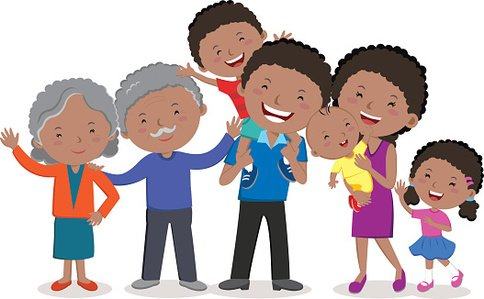 Cheerful Extended Family premium clipart.