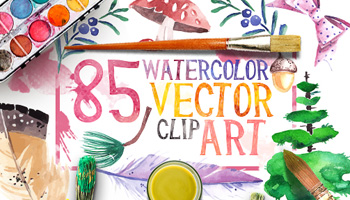 85 Beautiful Watercolor Vector Clip Art with an Extended License.