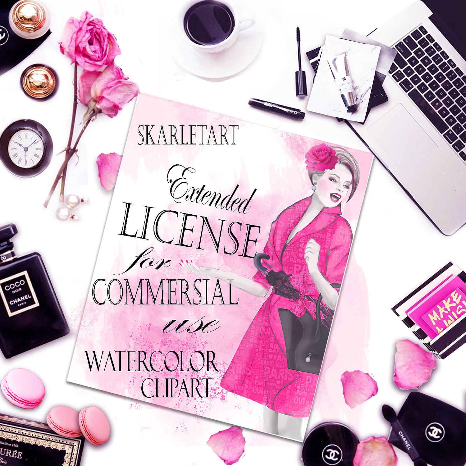 Extended license for Handpainted Watercolor Clipart.