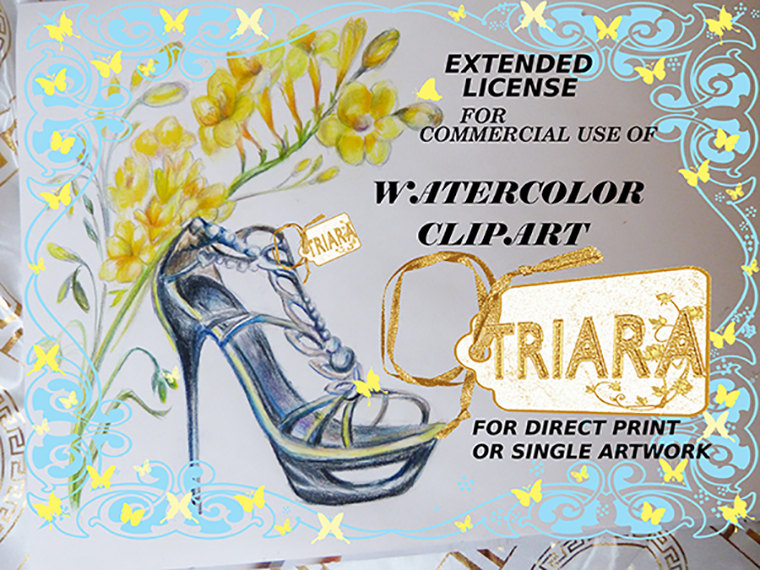 Extended license for Handpainted Watercolor Clipart.Triaraart from.