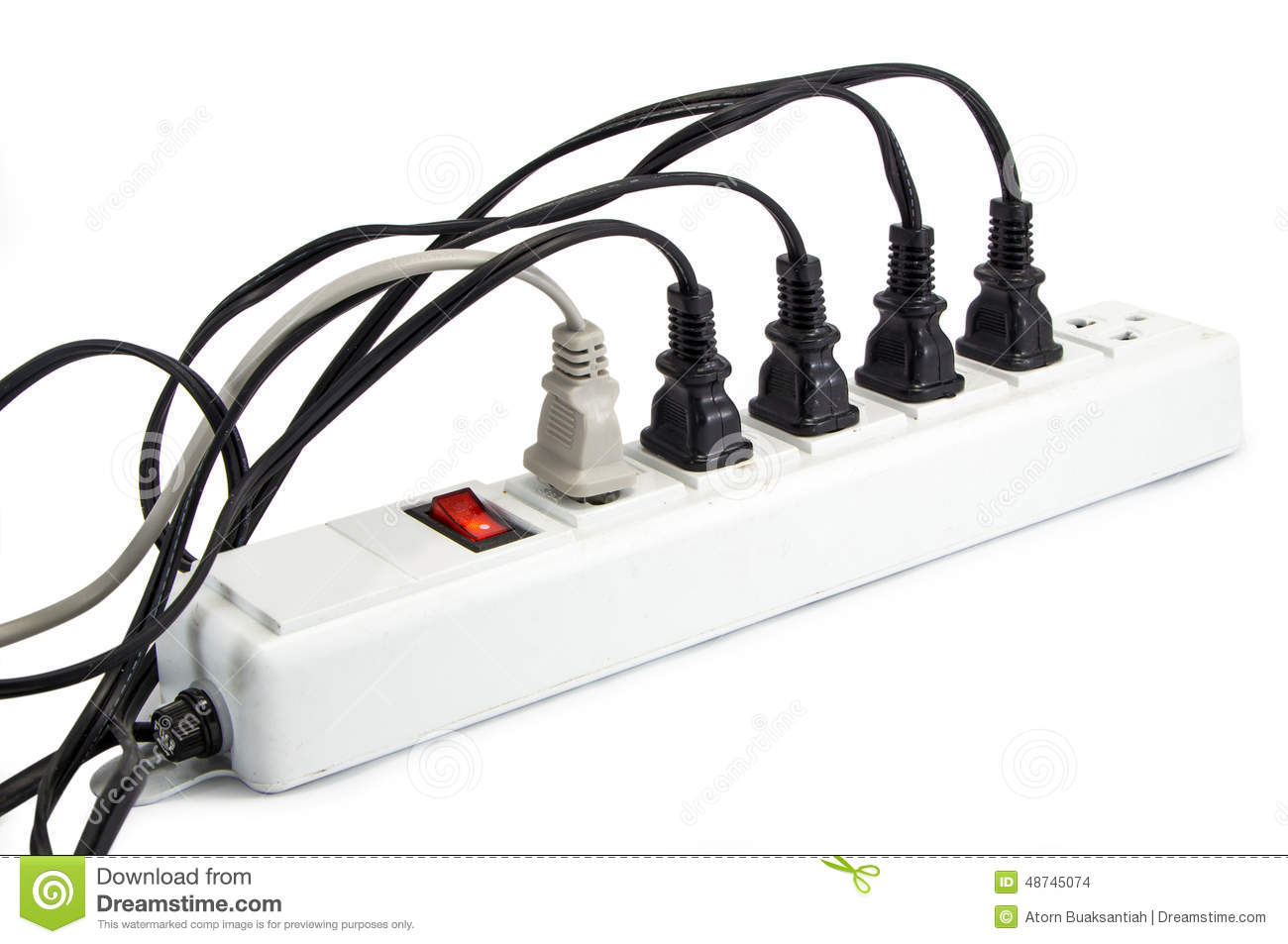 Extension Cord With Plugs Royalty Free Stock Photography.