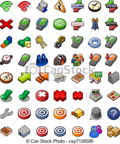 Clipart Vector of Wireless and Delivery icon set.