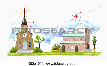Clip Art of exterior of churches 093c1012.