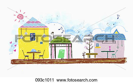 Clipart of exterior of restaurant building 093c1011.
