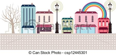 Vector Clipart of Street shop and cafe exterior.