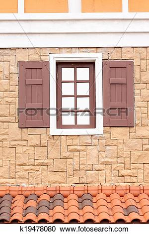 Stock Photography of Modern wood windows in exterior decoration.