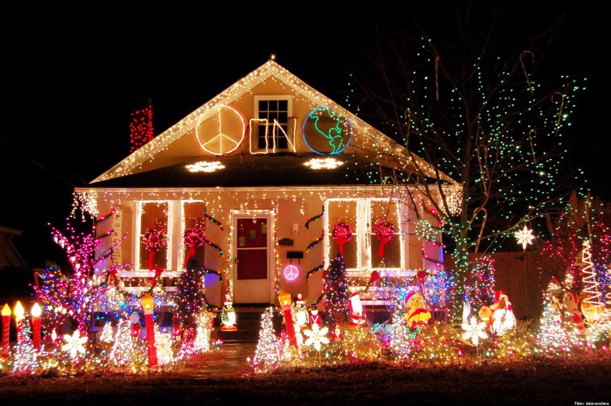 Clipart of christmas neighborhood homes.