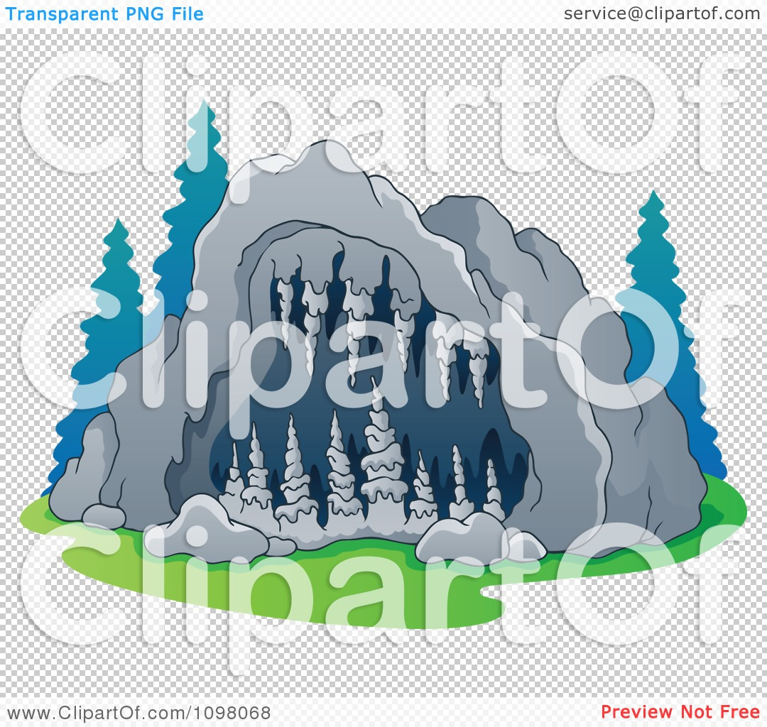 Clipart Exterior View Of A Cave Entrance With Formations.