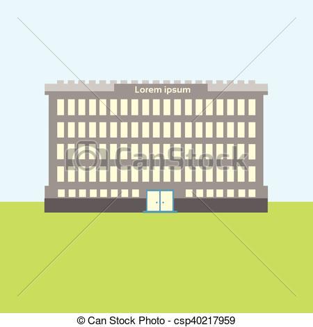Clipart Vector of School Building Estate Exterior City View Flat.