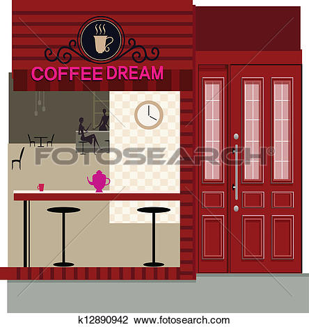 Clipart of Cafe exterior k12890942.