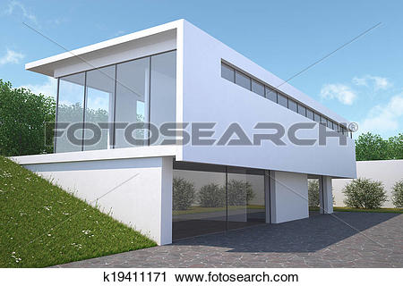 Clipart of Modern house with garden, exterior view. k19411171.