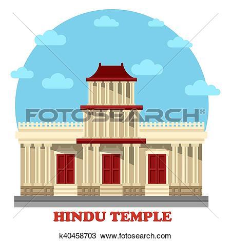 Clipart of Hindu temple or mandir facade exterior view k40458703.