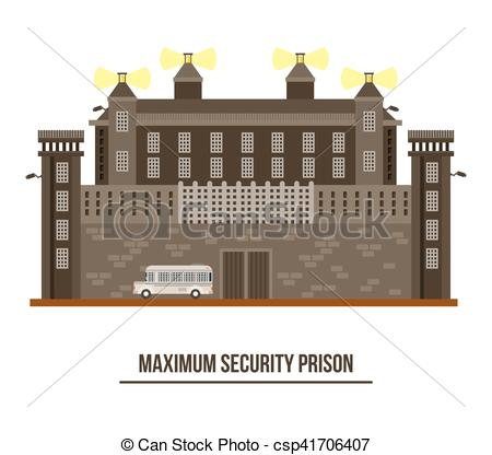 Vector Clipart of Exterior view on prison building,jail.