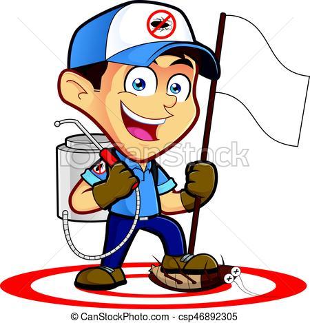 Exterminator or pest control holding flag.