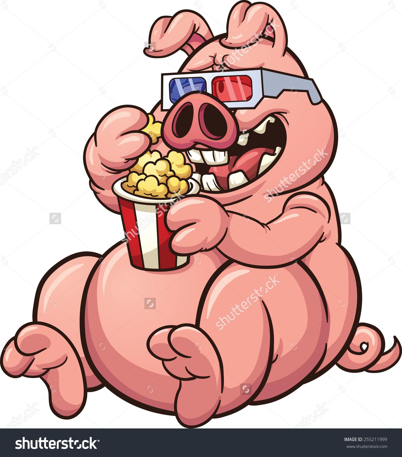 Fat Cartoon Pig Eating Popcorn Wearing Stock Vector 255211999.