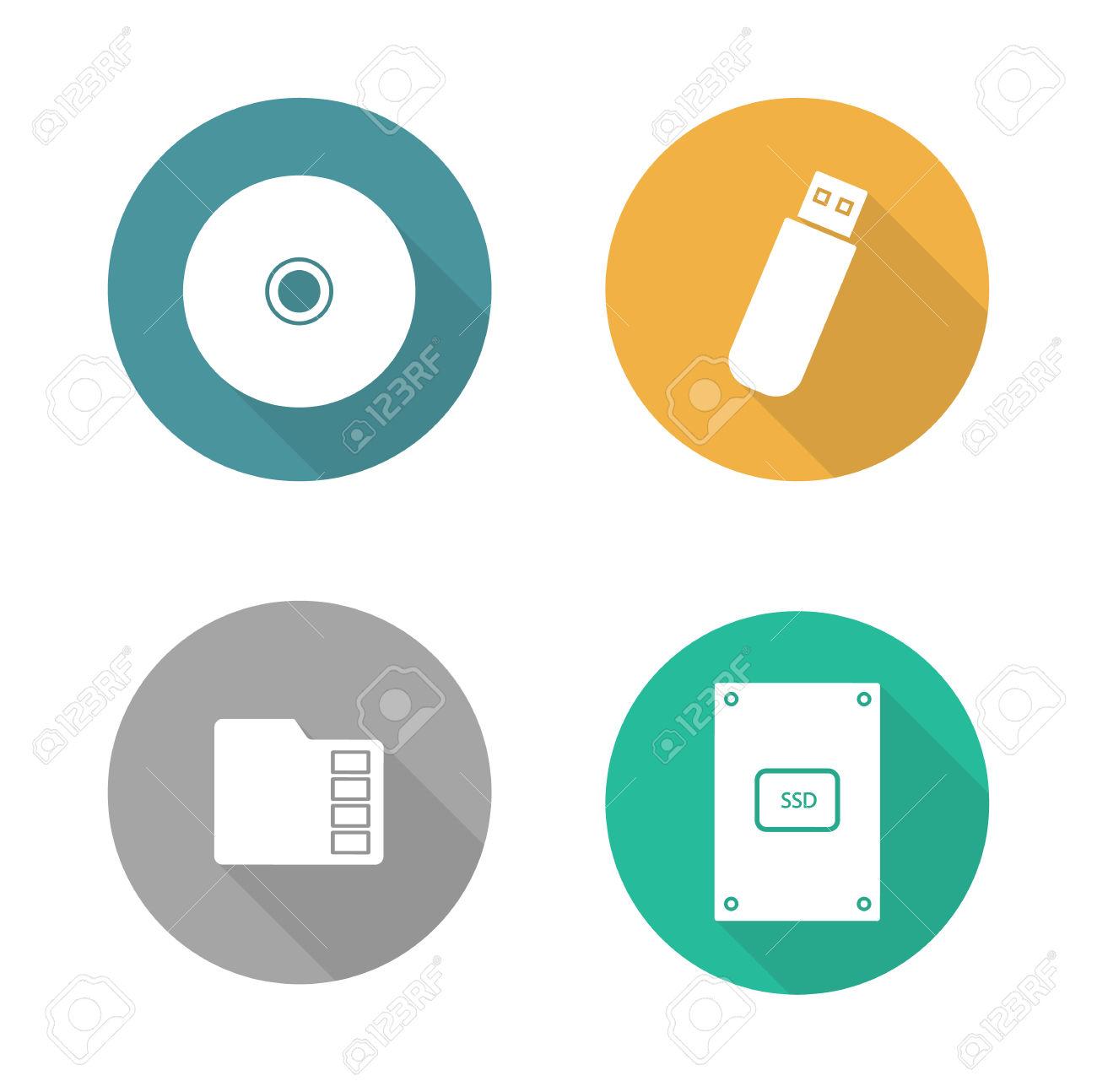 Digital Data Storage Devices Flat Design Icons Set. Cd Disc.