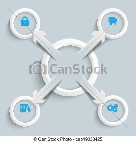 Vector Illustration of 4 Paper Cut Arrows Ring Centre Externally 4.