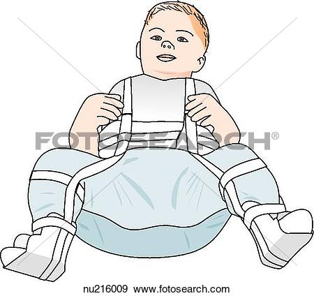 Stock Illustration of Toddler with a Pavlik harness to correct a.