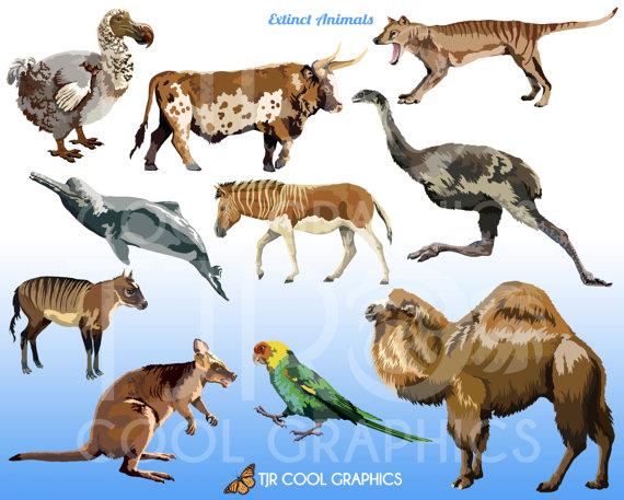 Extinct Animals Digital, Realistic Clip Art, Commercial, PNG.