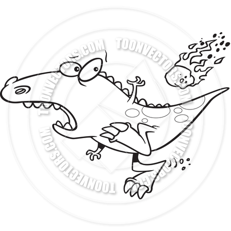 Cartoon Dinosaur Extinction (Black and White Line Art) by Ron.