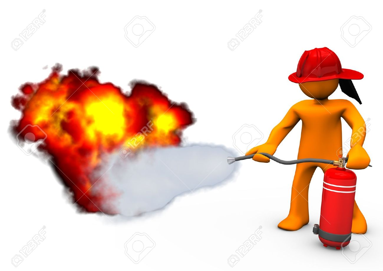 Orange Cartoon Character Blows Out The Fire With Extinguisher.