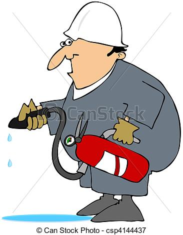 Stock Illustrations of Man Using A Class A Fire Extinguish.